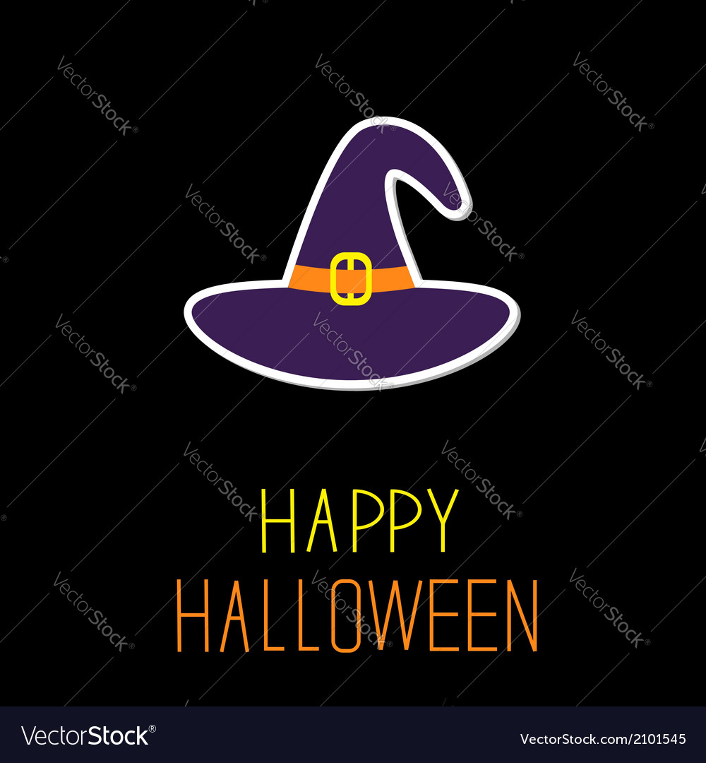 Violet witch hat happy halloween card vector | Price: 1 Credit (USD $1)
