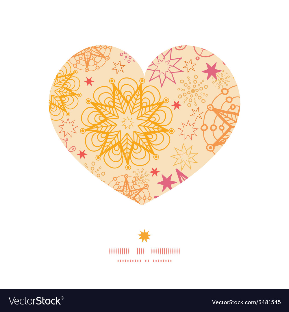 Warm stars heart silhouette pattern frame vector | Price: 1 Credit (USD $1)