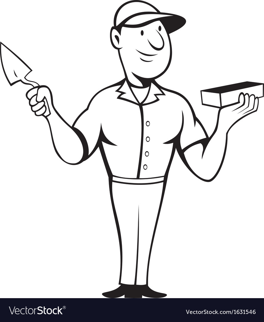 Bricklayer mason standing vector | Price: 1 Credit (USD $1)