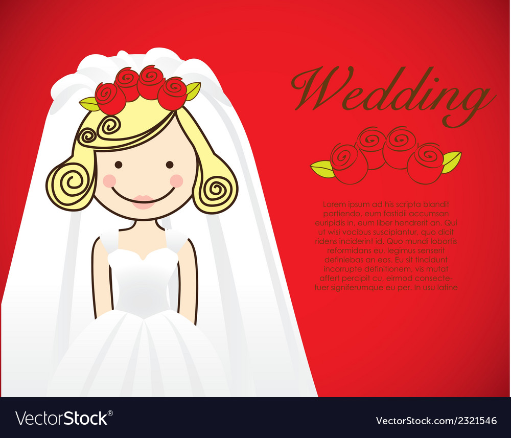 Bride wedding dress on red background vector   Price: 1 Credit (USD $1)