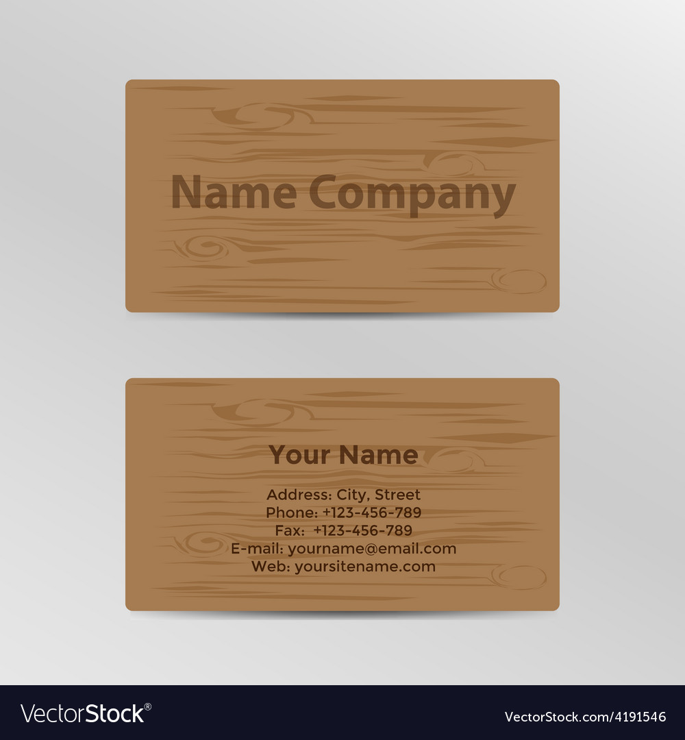 Business card with wood texture vector | Price: 1 Credit (USD $1)