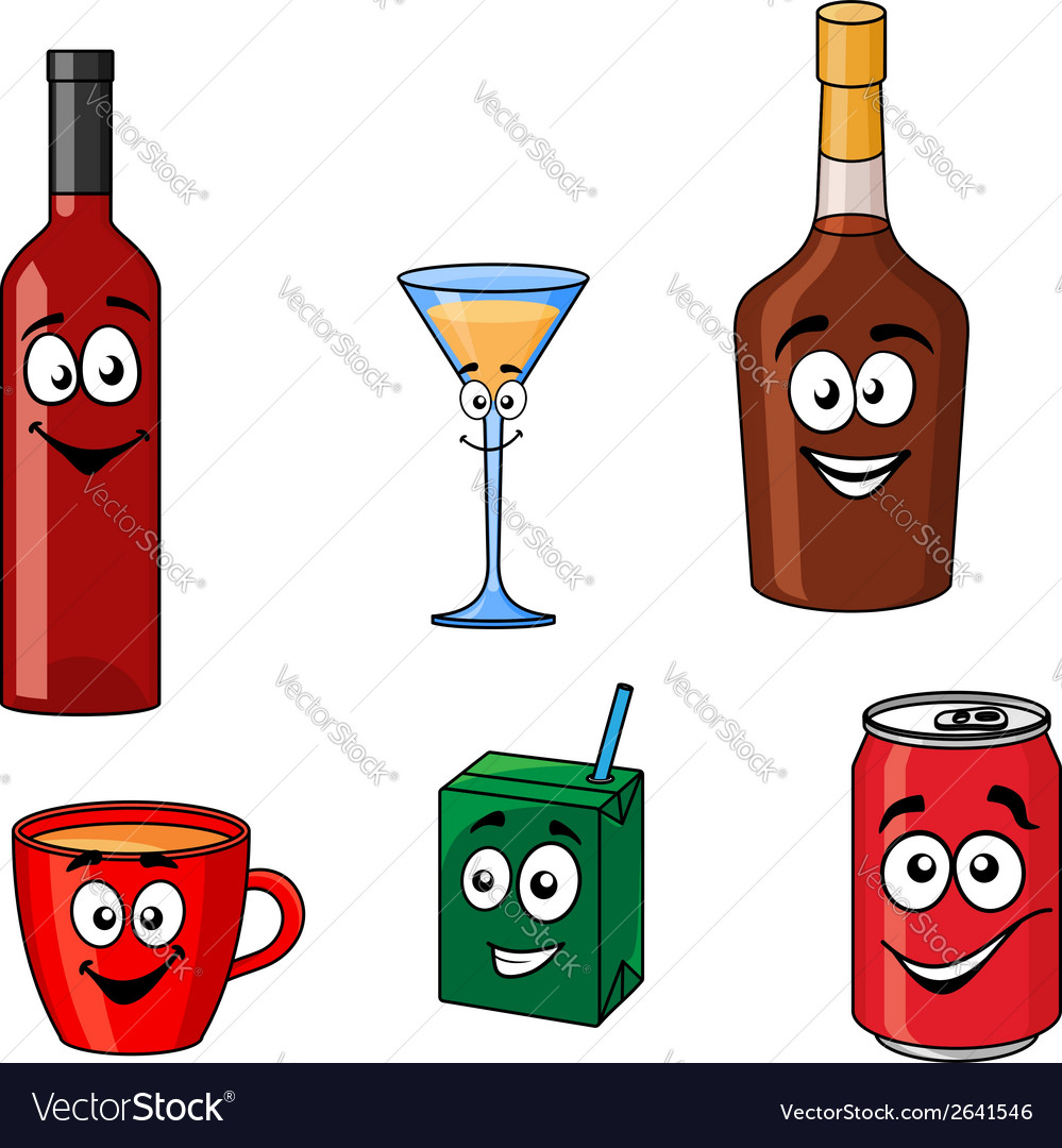 Cartoon set of assorted beverages or drinks vector | Price: 1 Credit (USD $1)