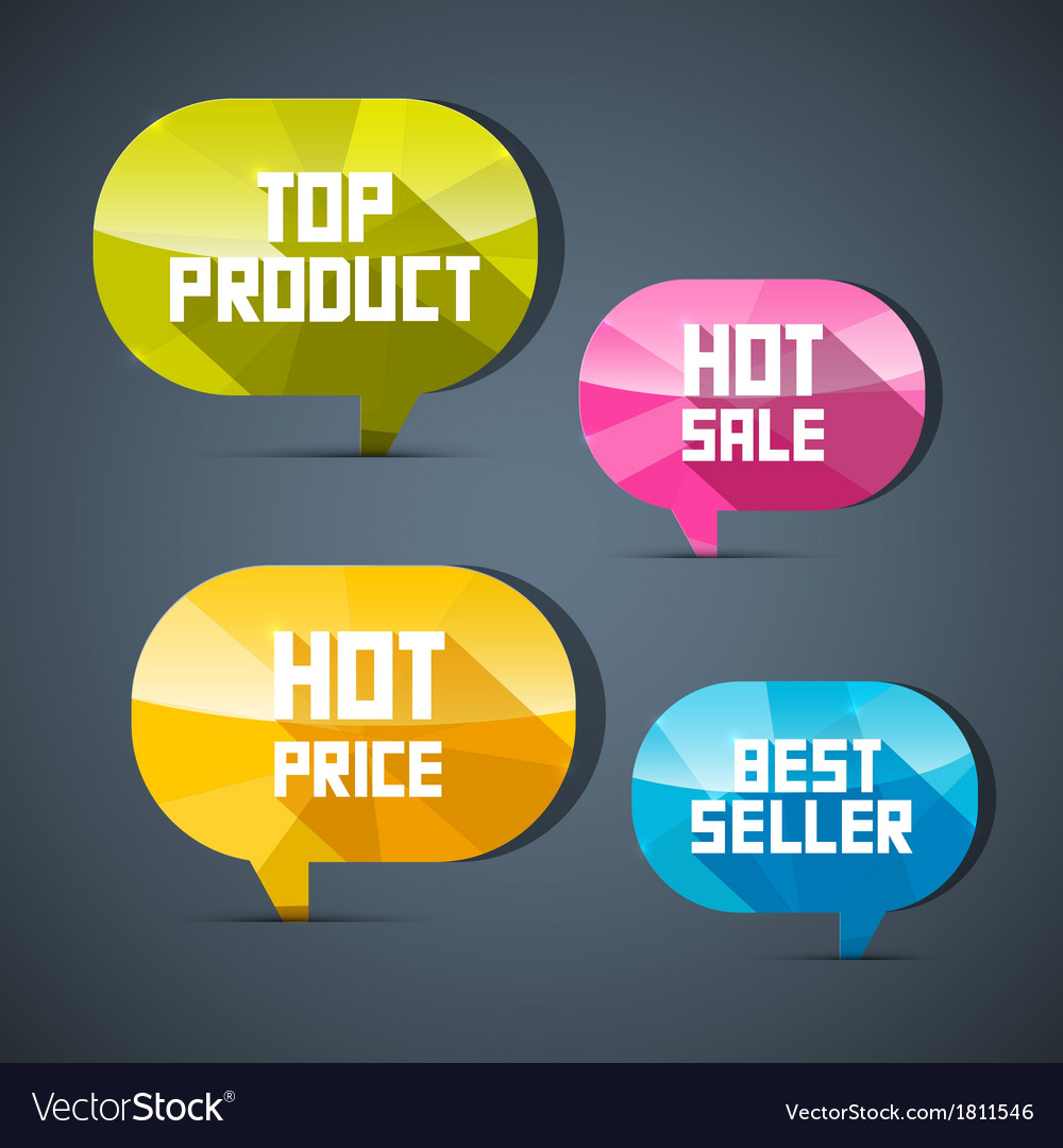 Colorful labels best seller top product hot sale vector | Price: 1 Credit (USD $1)