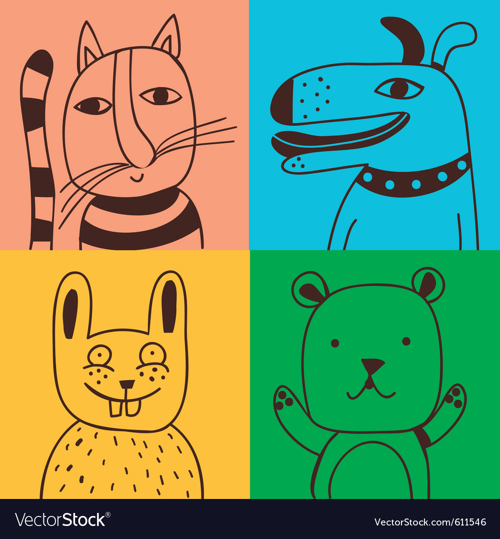 Four pets vector | Price: 1 Credit (USD $1)