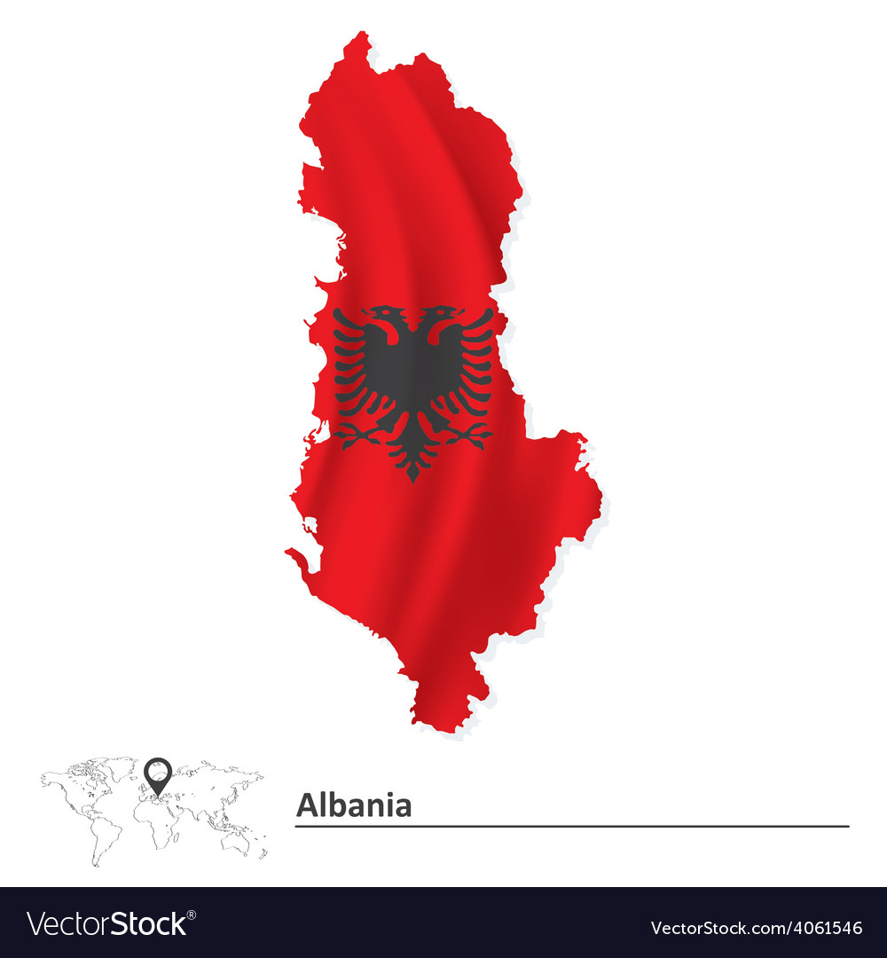 Map of albania with flag vector | Price: 1 Credit (USD $1)