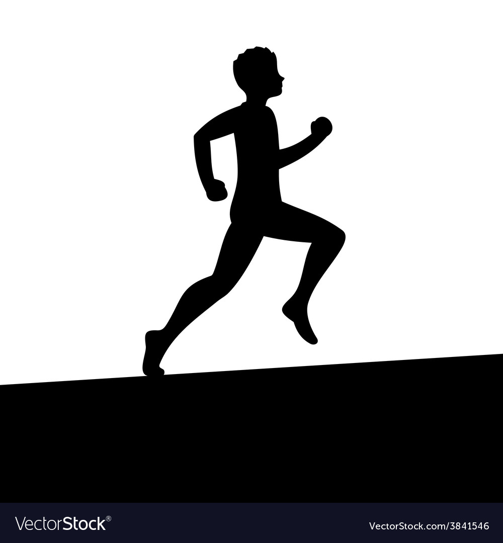 Men running silhouette vector | Price: 1 Credit (USD $1)