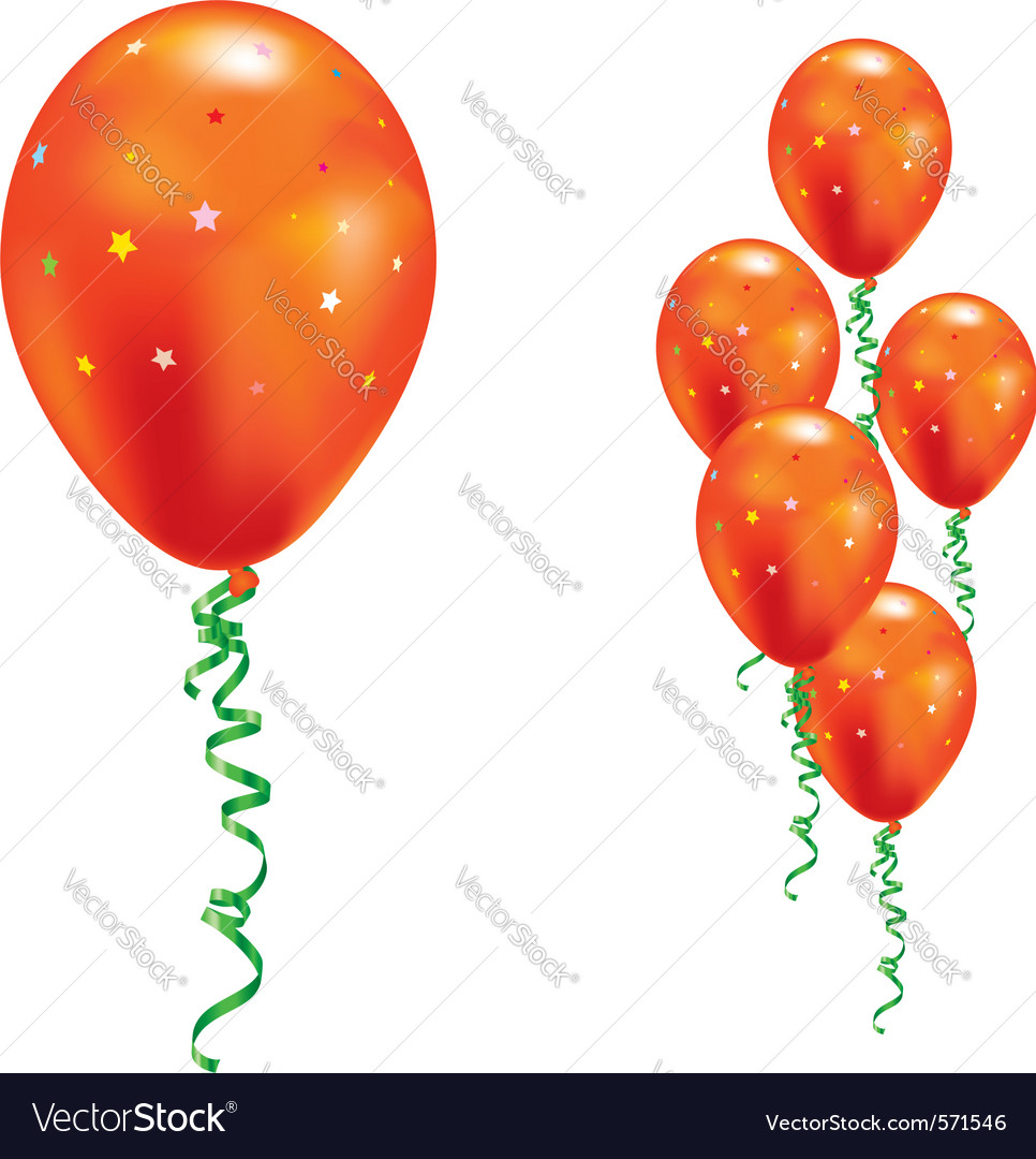 Orange party balloons vector | Price: 1 Credit (USD $1)