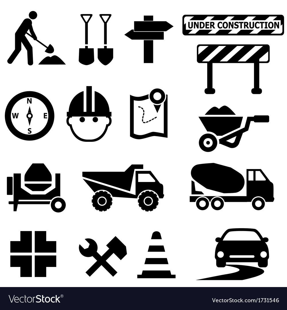 Road works icons vector | Price: 1 Credit (USD $1)