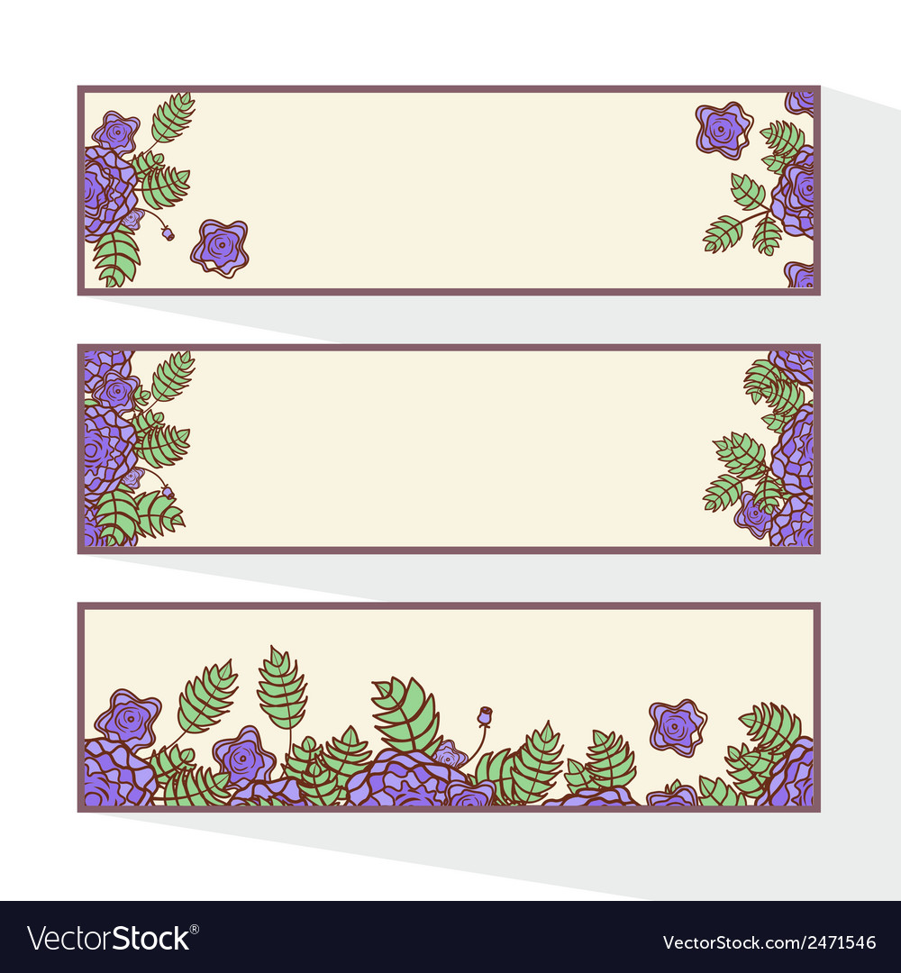 Set of banners with abstract roses vector | Price: 1 Credit (USD $1)