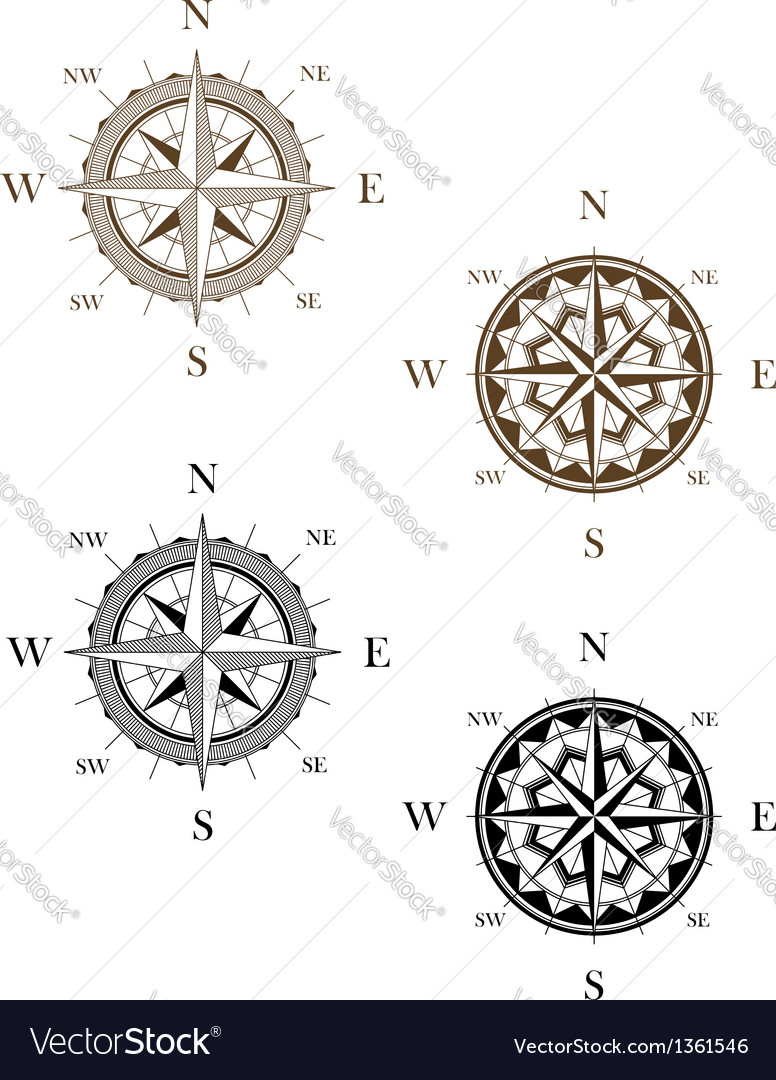 Set of vintage compass signs vector | Price: 1 Credit (USD $1)