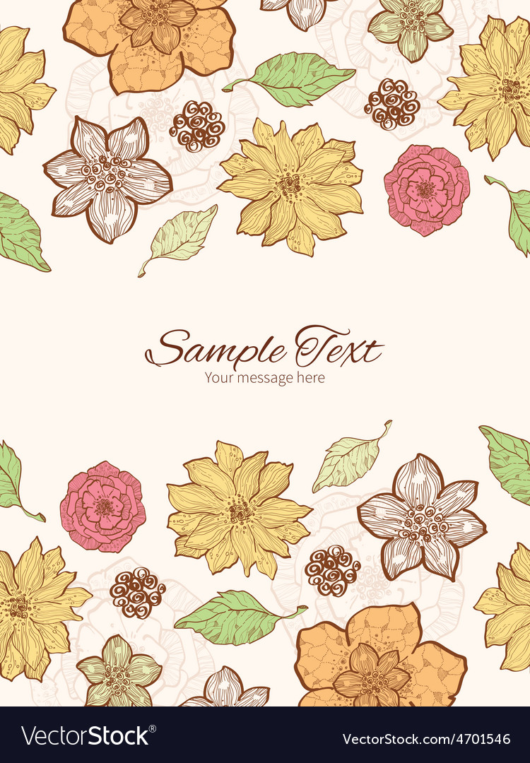 Warm fall lineart flowers vertical double vector | Price: 1 Credit (USD $1)