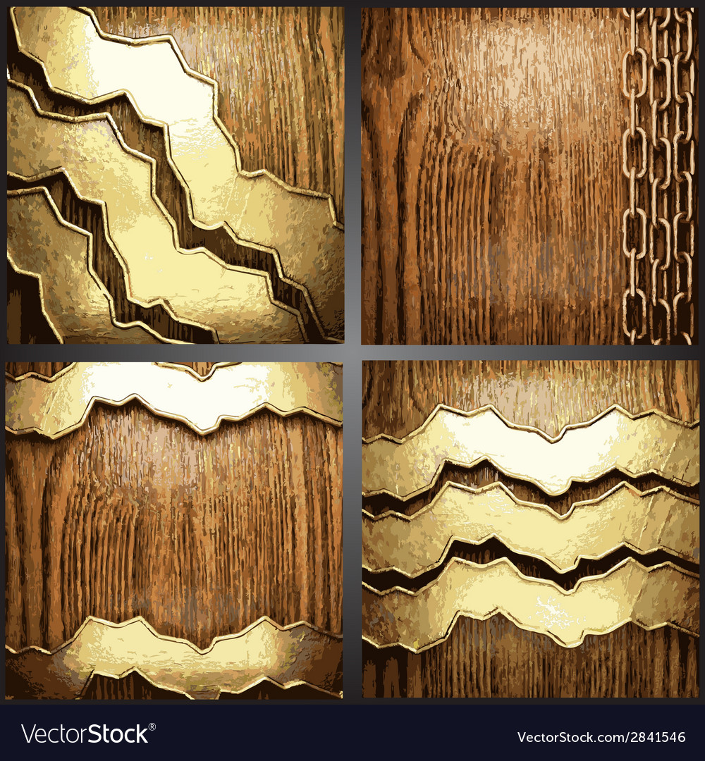 Wood and gold background set vector | Price: 1 Credit (USD $1)