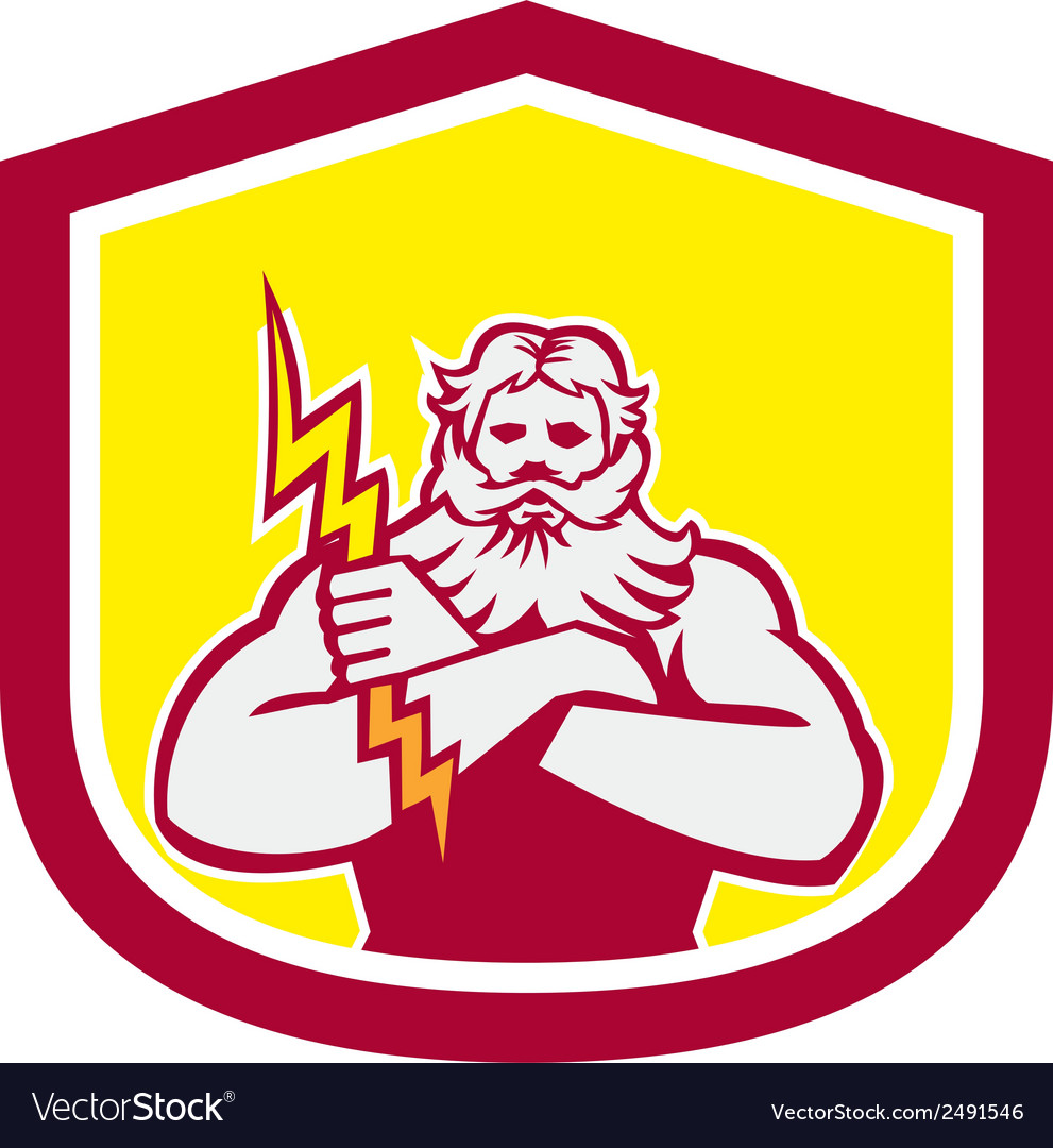 Zeus greek god arms cross thunderbollt retro vector | Price: 1 Credit (USD $1)