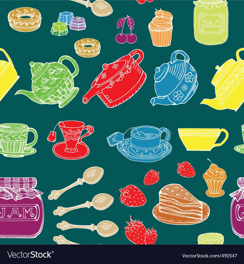 Afternoon tea print vector | Price: 1 Credit (USD $1)