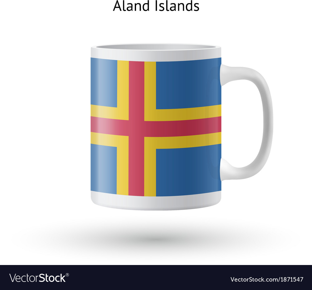 Aland islands flag souvenir mug on white vector | Price: 1 Credit (USD $1)