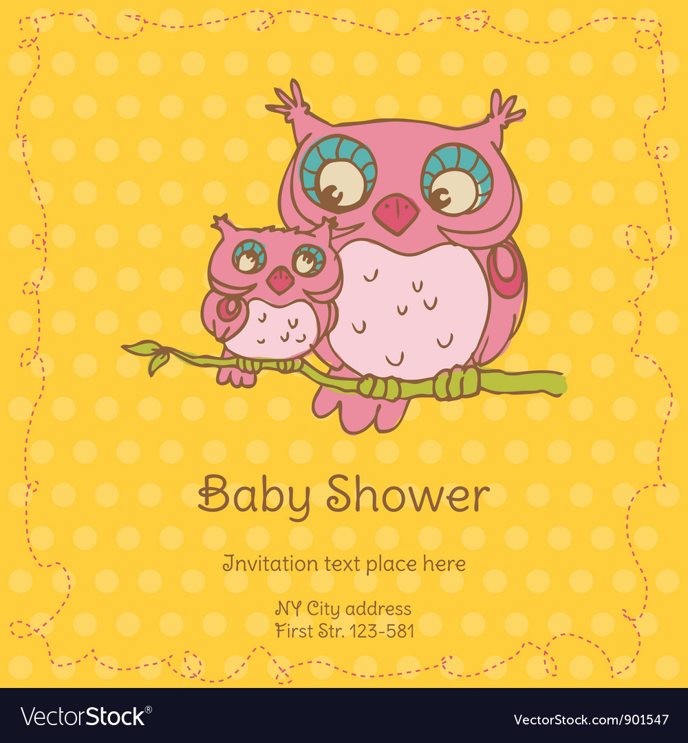 Baby shower card with owls vector | Price: 1 Credit (USD $1)