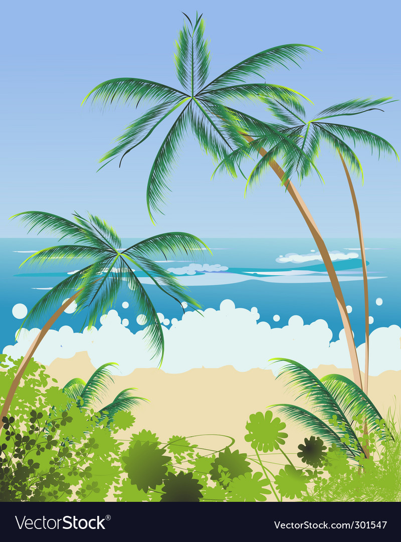 Beach landscape vector | Price: 3 Credit (USD $3)