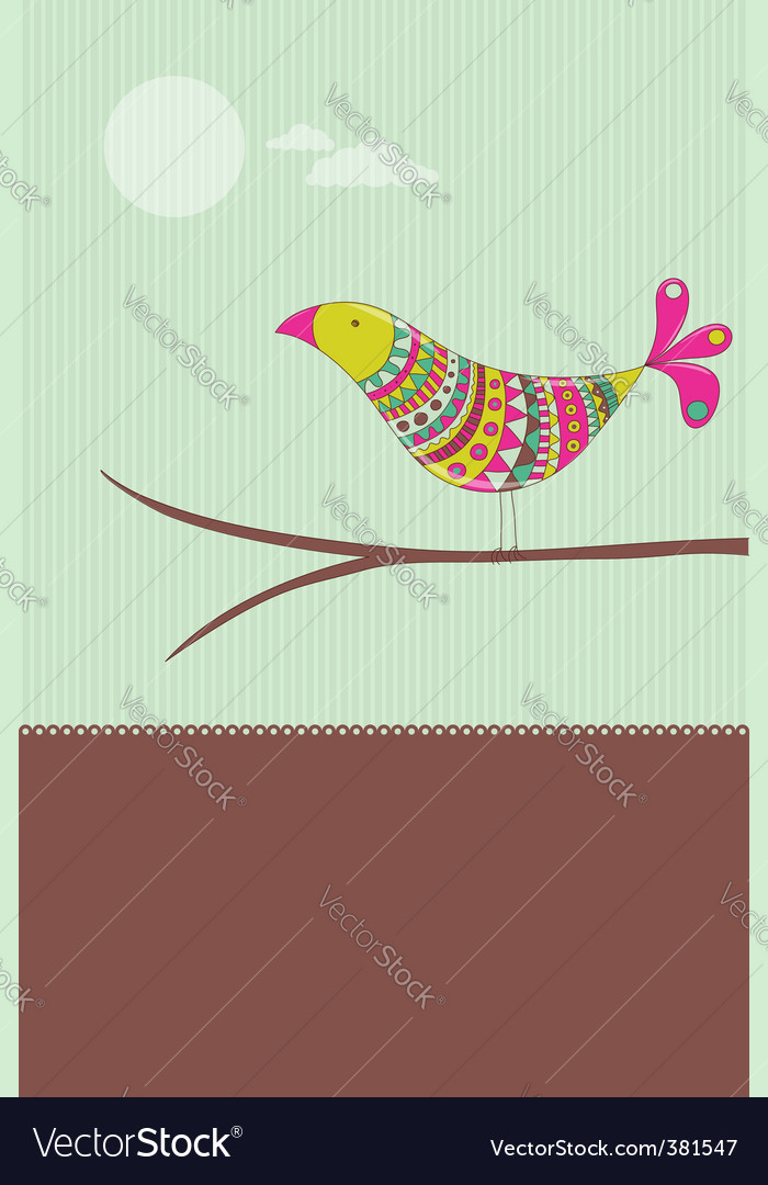 Colorful bird card vector | Price: 1 Credit (USD $1)