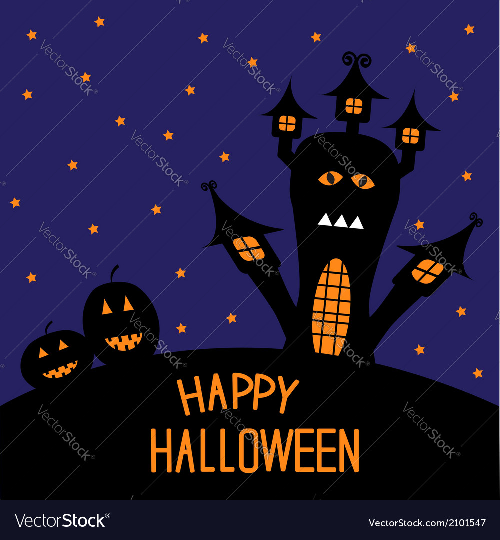 Haunted house and pumpkins starry night halloween vector | Price: 1 Credit (USD $1)