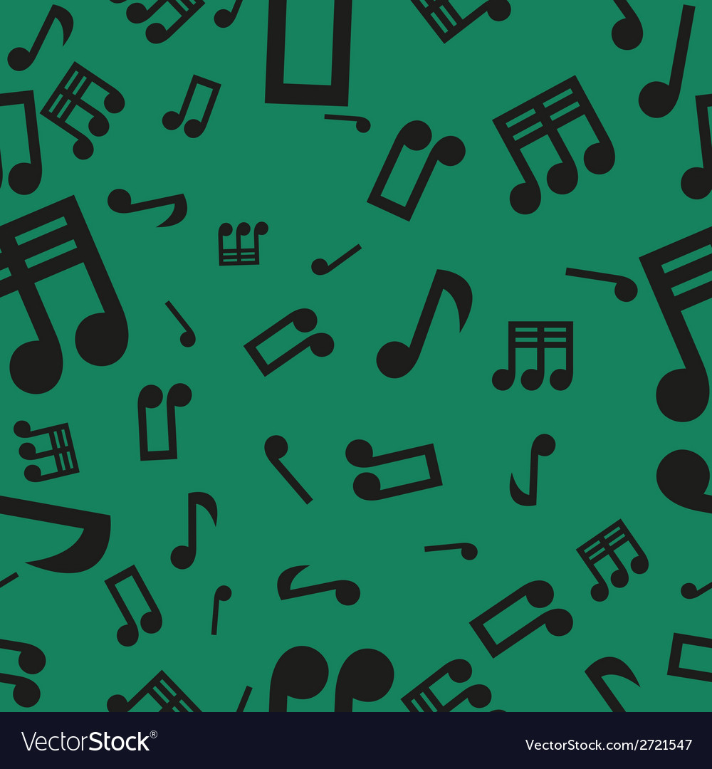 Musical notes seamless pattern green vector | Price: 1 Credit (USD $1)
