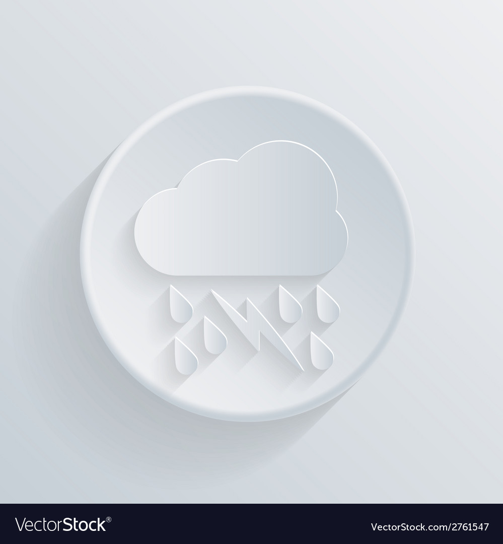 Paper circle flat icon cloud rain lightning vector | Price: 1 Credit (USD $1)