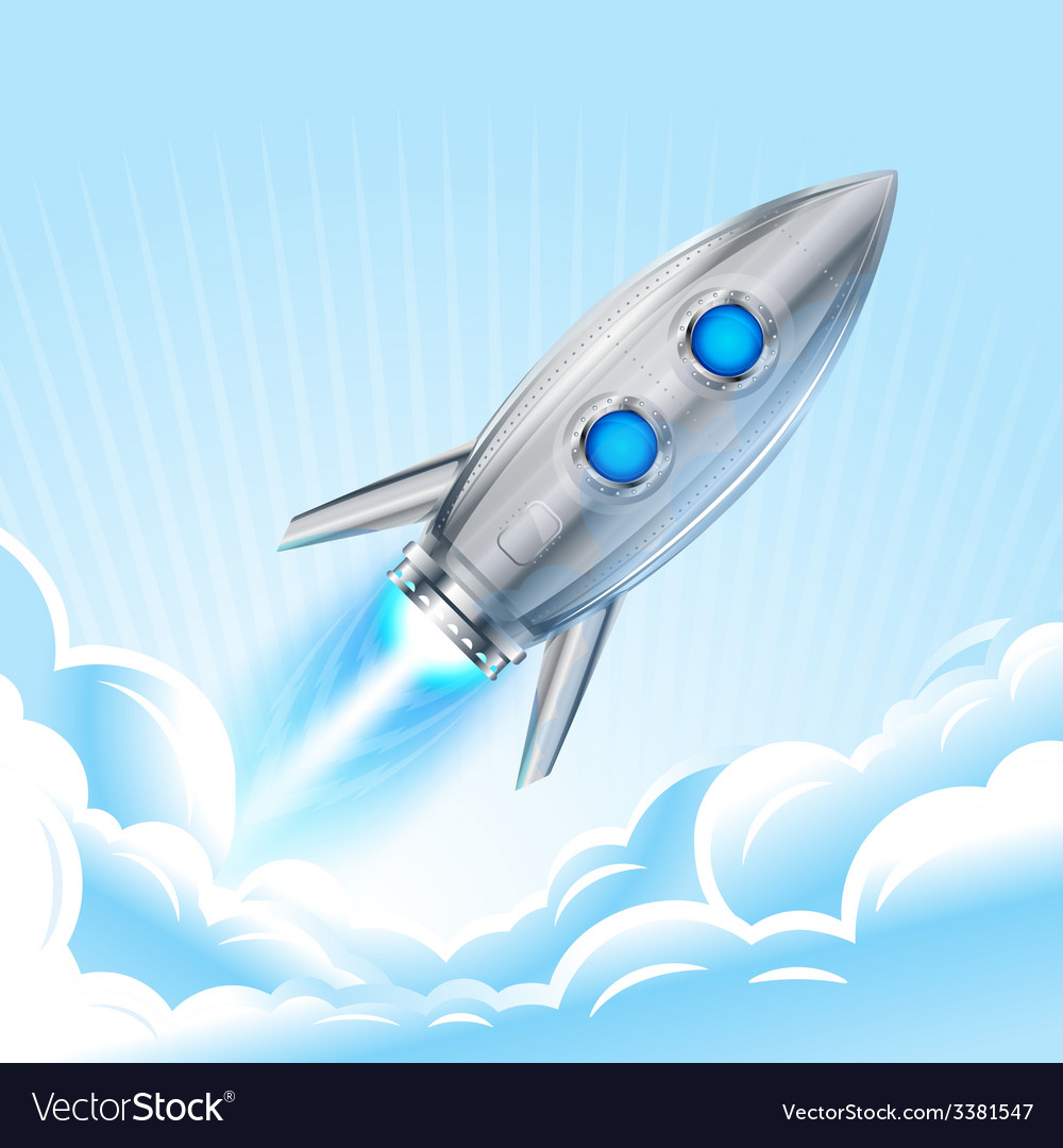 Rocket in sky vector | Price: 3 Credit (USD $3)