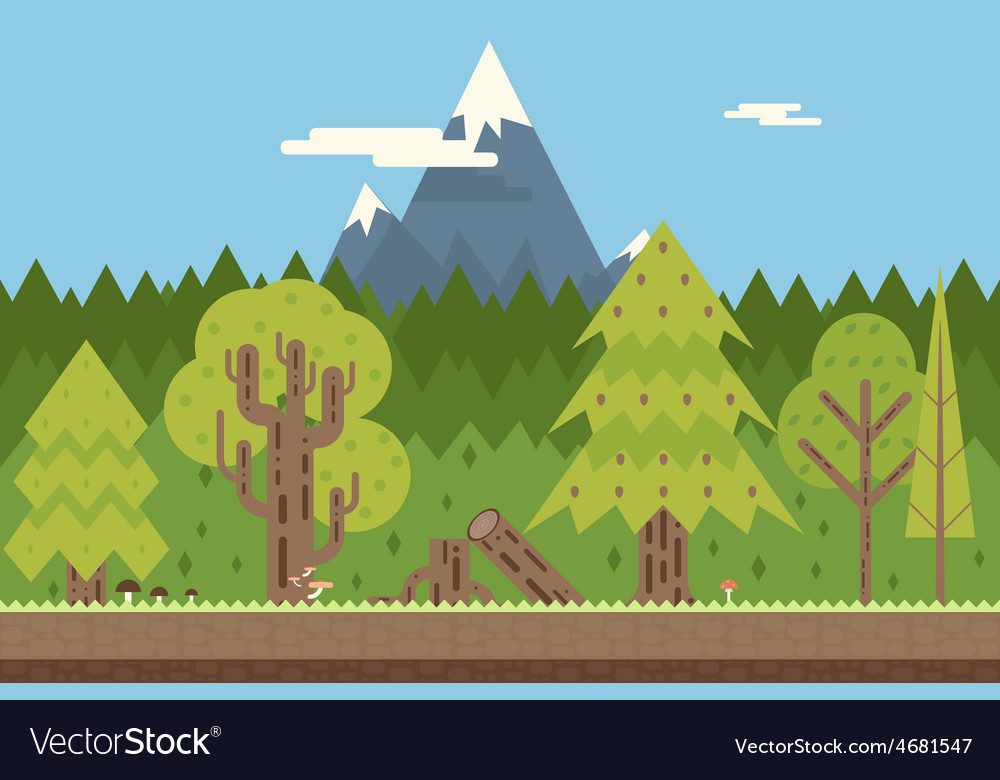 Seamless wood and mountain nature concept flat vector | Price: 1 Credit (USD $1)