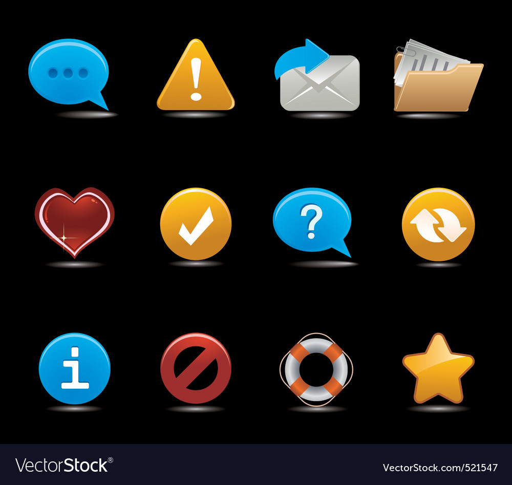 Set of icons on black vector | Price: 1 Credit (USD $1)