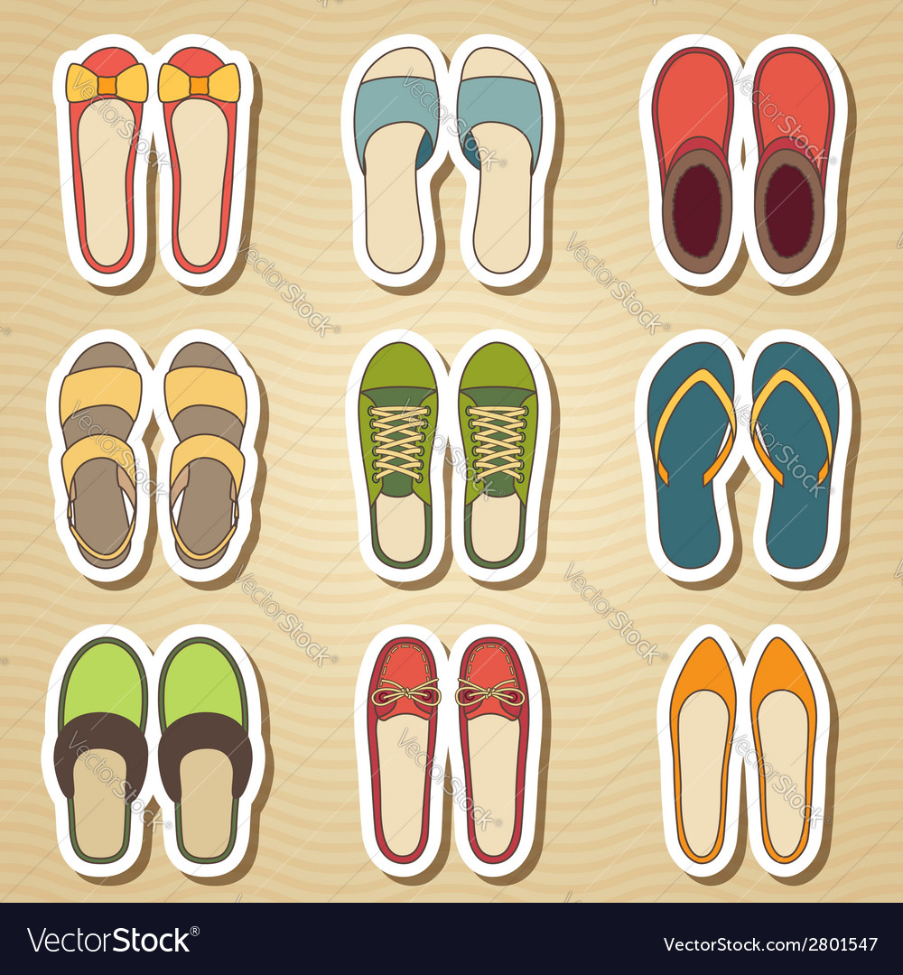 Set of nine woman shoes icon vector   Price: 1 Credit (USD $1)