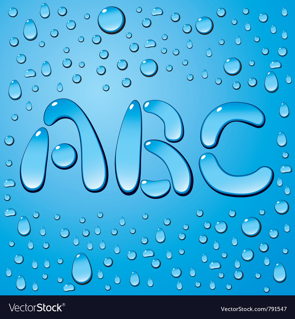 Set of water drops letters on blue background vector | Price: 1 Credit (USD $1)