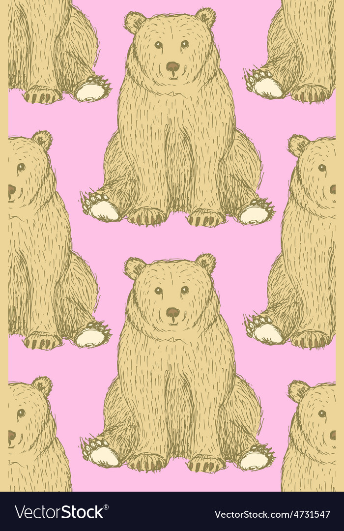 Sketch cute bear in vintage style vector | Price: 1 Credit (USD $1)