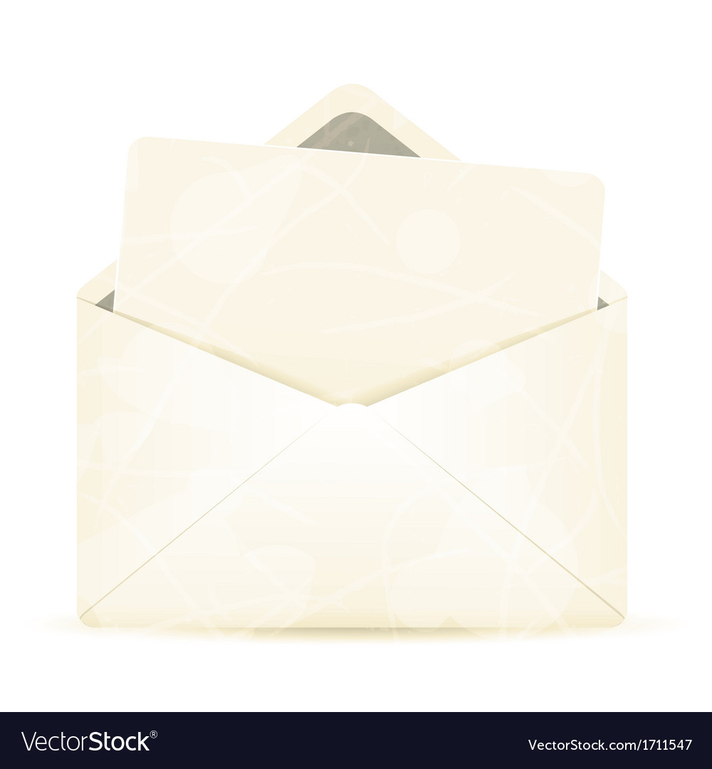Vintage envelope with white paper vector | Price: 1 Credit (USD $1)