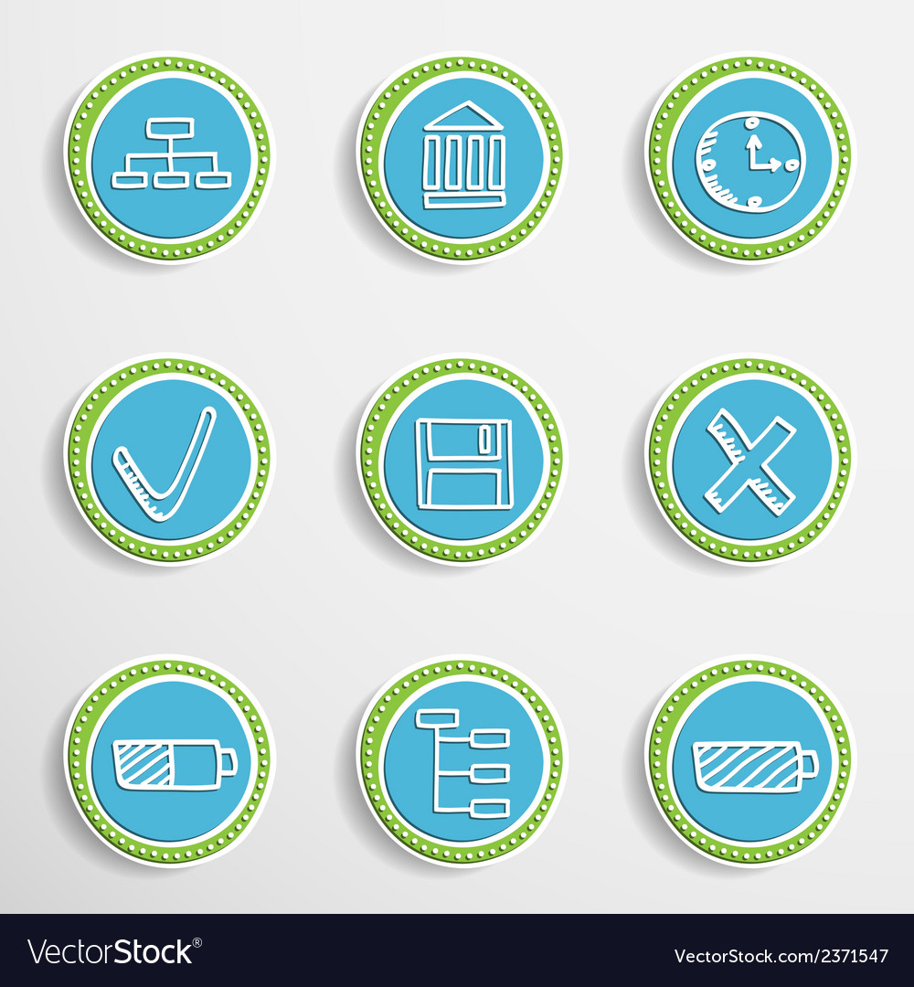 Web buttons with drawing icons vector | Price: 1 Credit (USD $1)