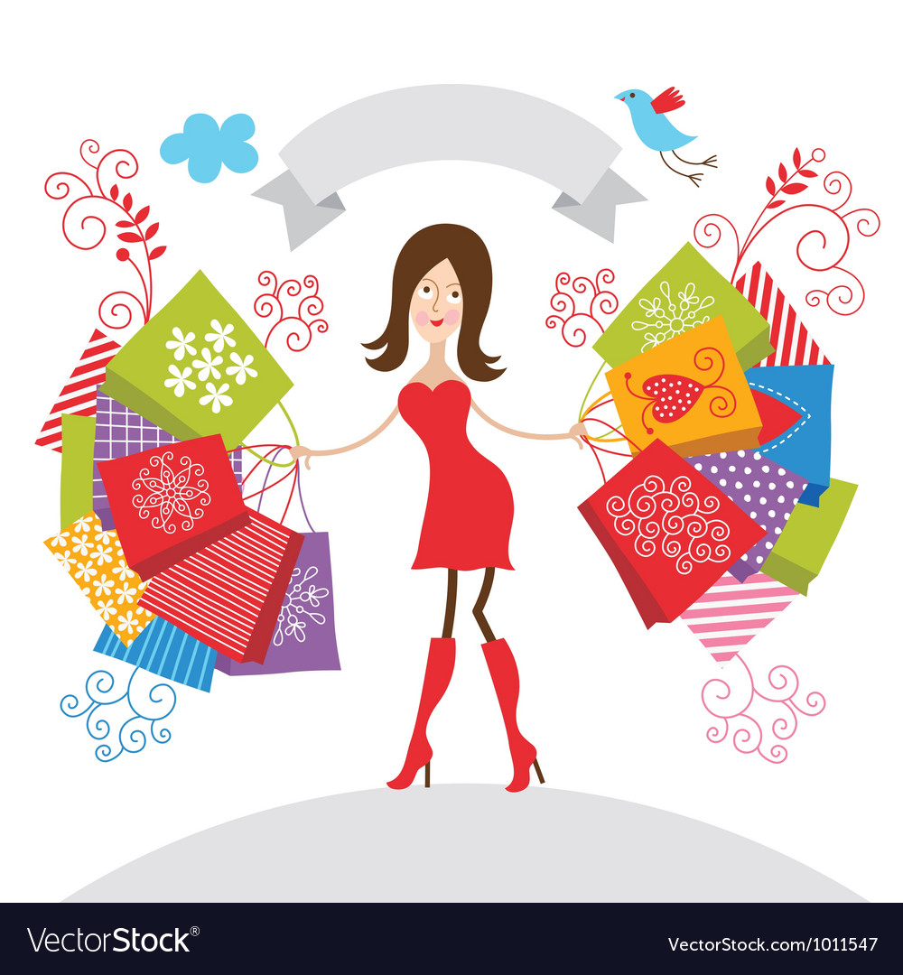 Young girl with purchases vector | Price: 1 Credit (USD $1)