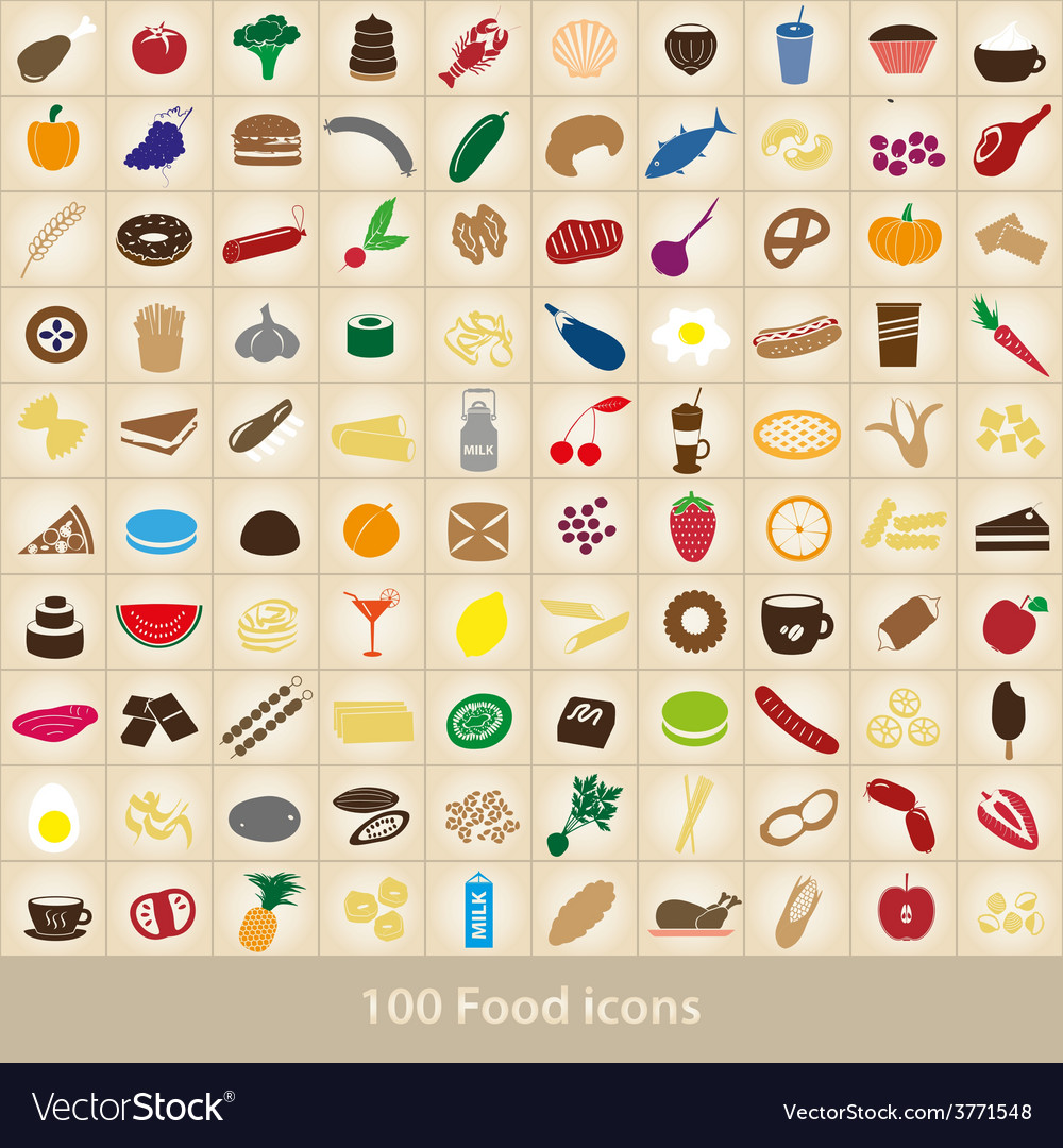 100 various food and drink color icons set eps10 vector | Price: 1 Credit (USD $1)