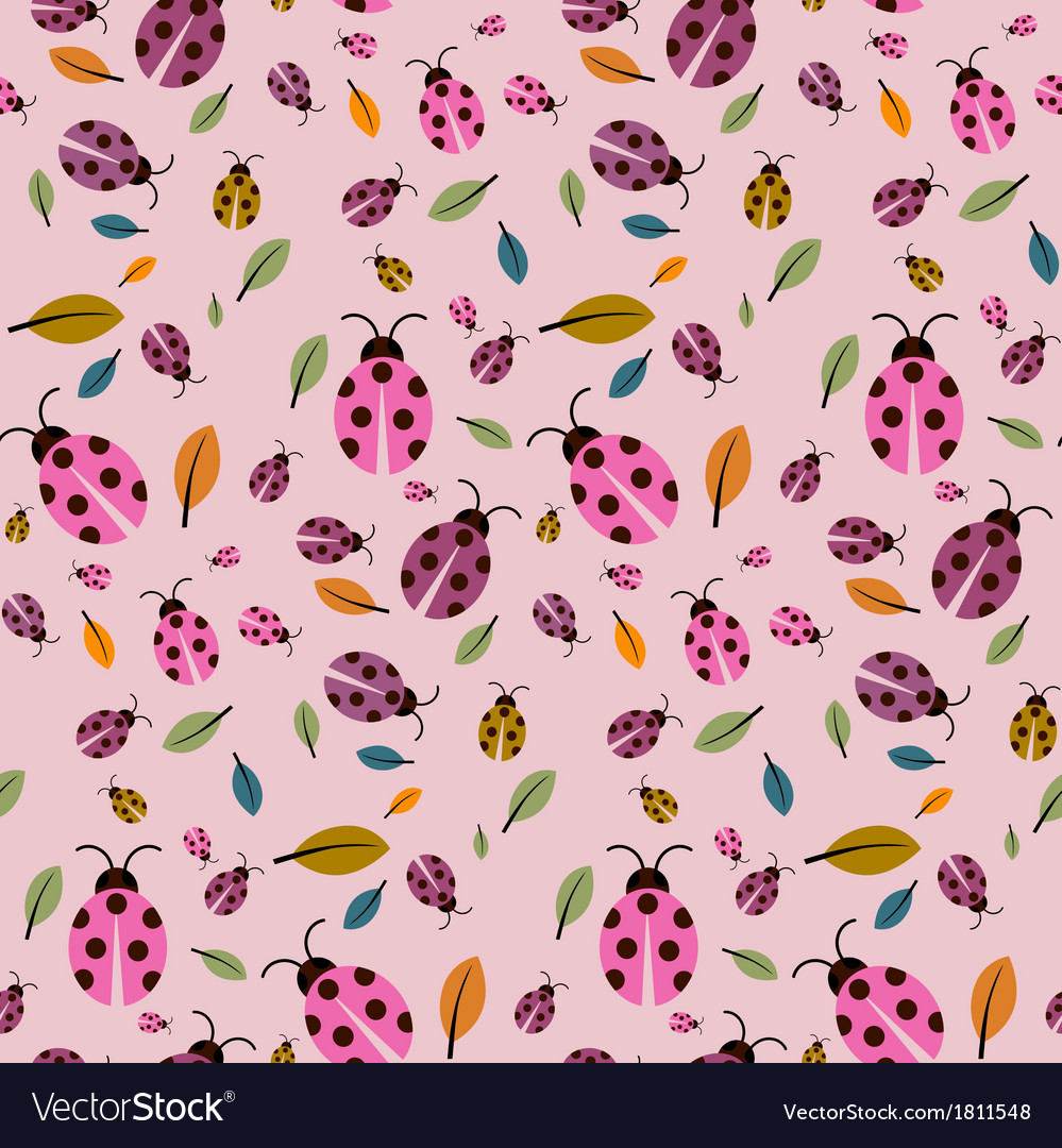 Abstract retro pink background with ladybirds and vector | Price: 1 Credit (USD $1)