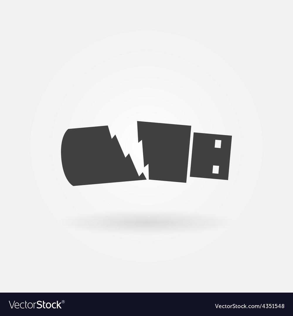Broken usb flash drive icon vector | Price: 1 Credit (USD $1)