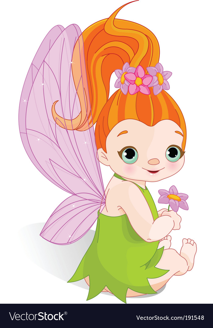 Fairy with flower vector | Price: 3 Credit (USD $3)