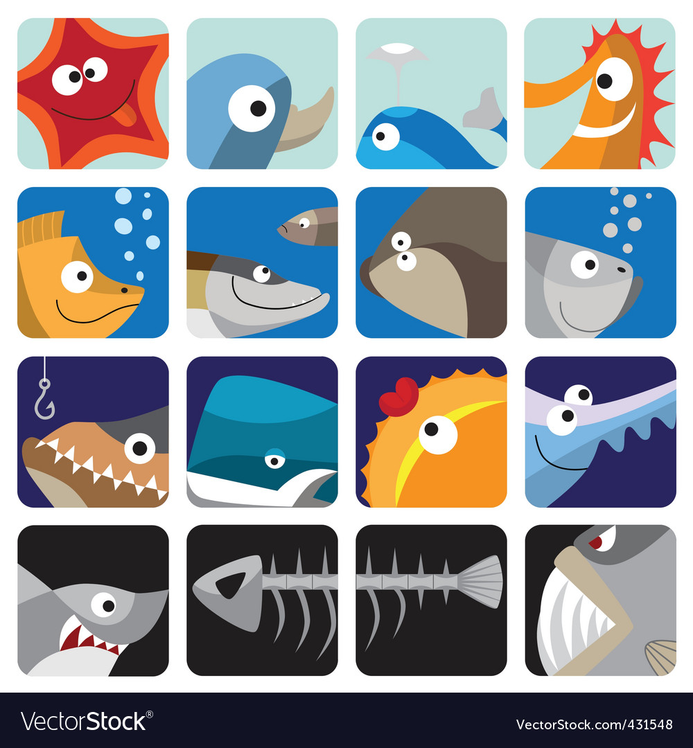 Fish icon set vector | Price: 1 Credit (USD $1)