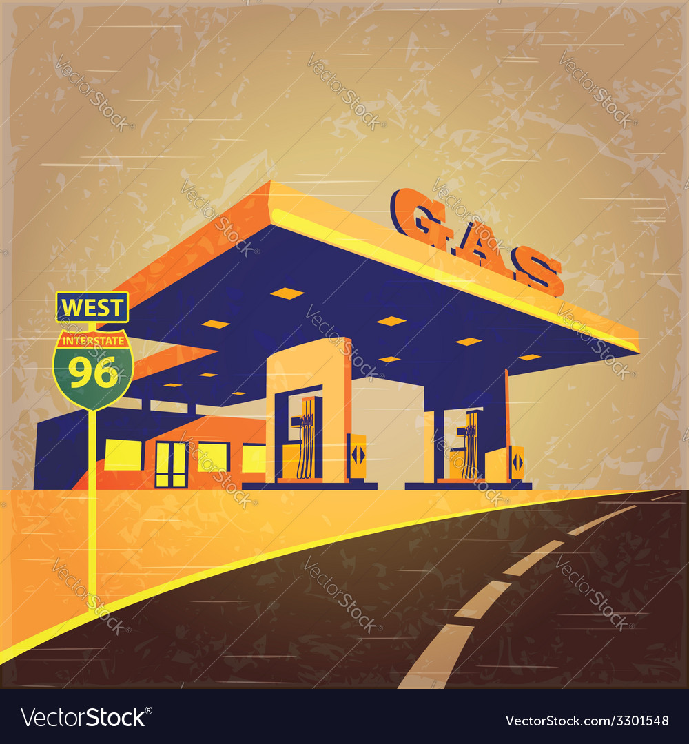 Gas station on the road vector | Price: 1 Credit (USD $1)