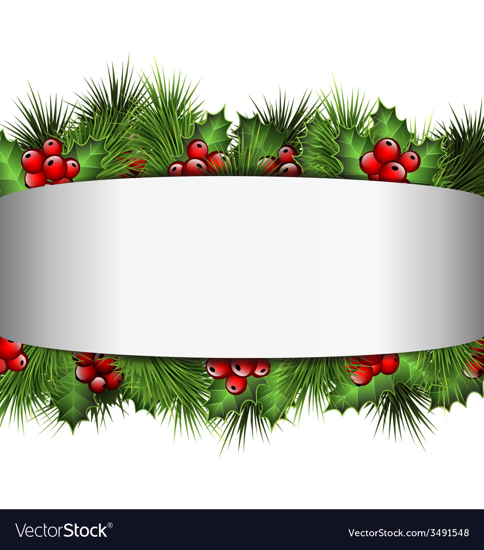 Grayscale blank frame with holly sprigs and pine vector | Price: 1 Credit (USD $1)