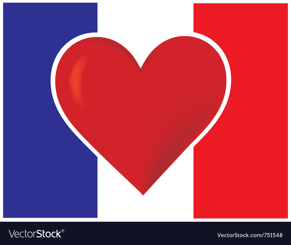 Heart france flag vector | Price: 1 Credit (USD $1)