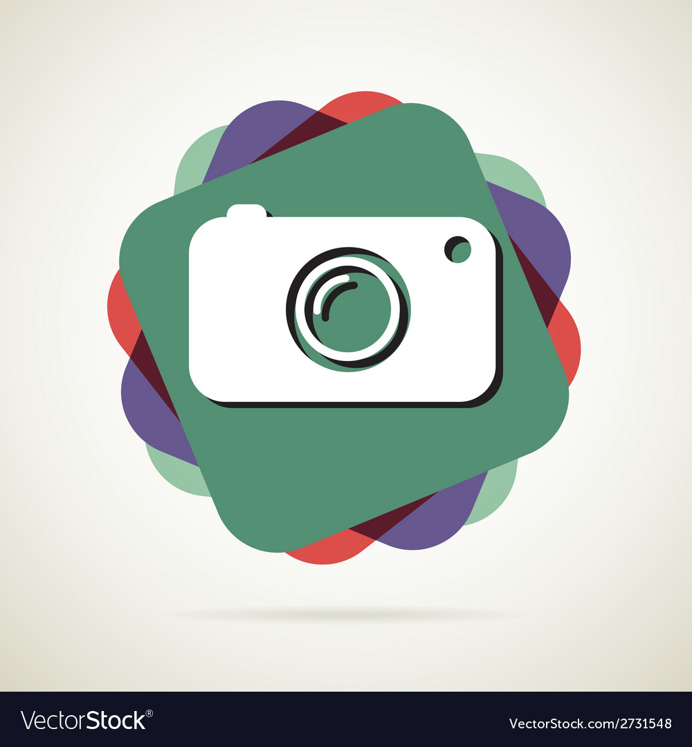 Hipster photo or camera icon with long shadow vector | Price: 1 Credit (USD $1)