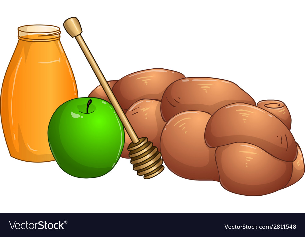 Honey jar apple and chala for rosh hashanah vector | Price: 1 Credit (USD $1)