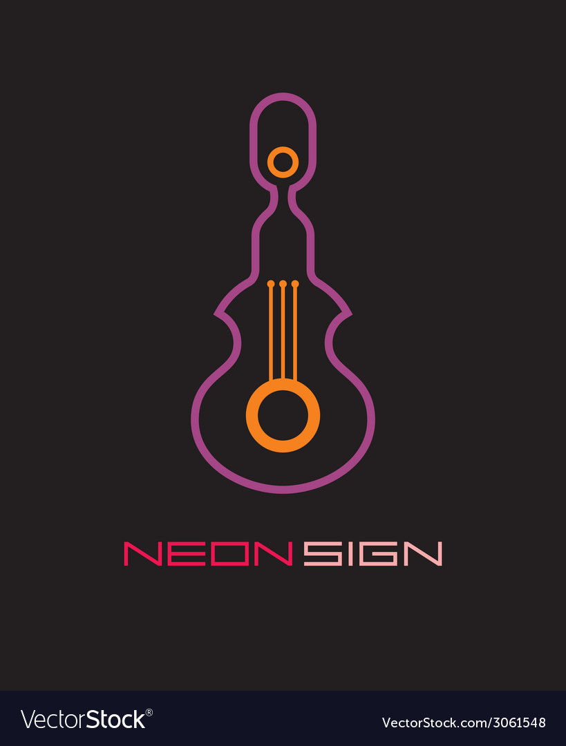 Neon sign guitar vector | Price: 1 Credit (USD $1)