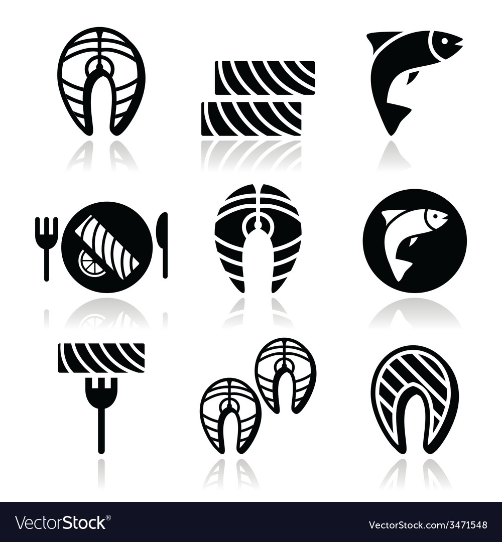 Salmon fish and meal - food icons set vector | Price: 1 Credit (USD $1)