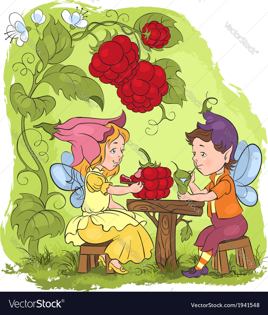 Two cute elves lunch in the garden cafe vector | Price: 5 Credit (USD $5)