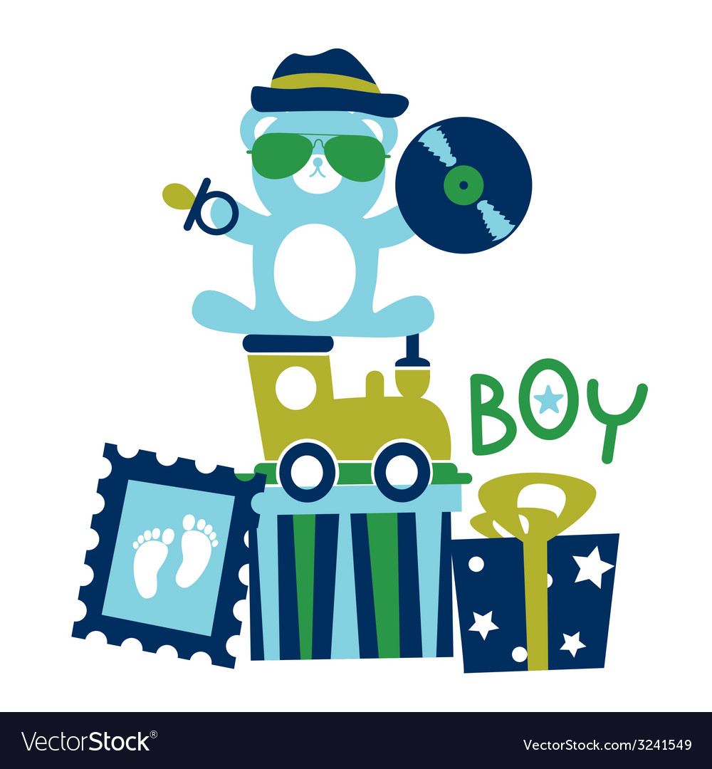 Baby shower for boy composition vector | Price: 1 Credit (USD $1)