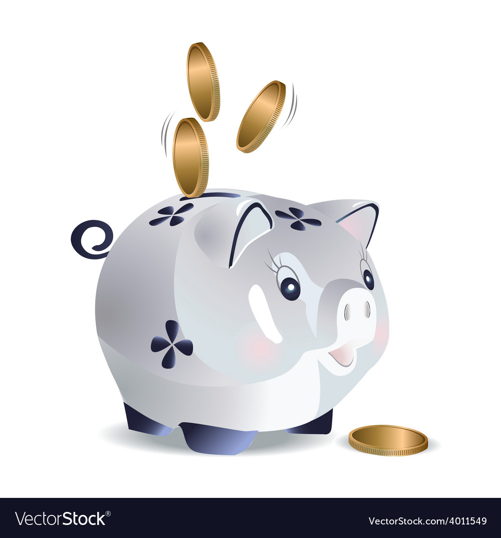 Blue cash pig vector | Price: 1 Credit (USD $1)