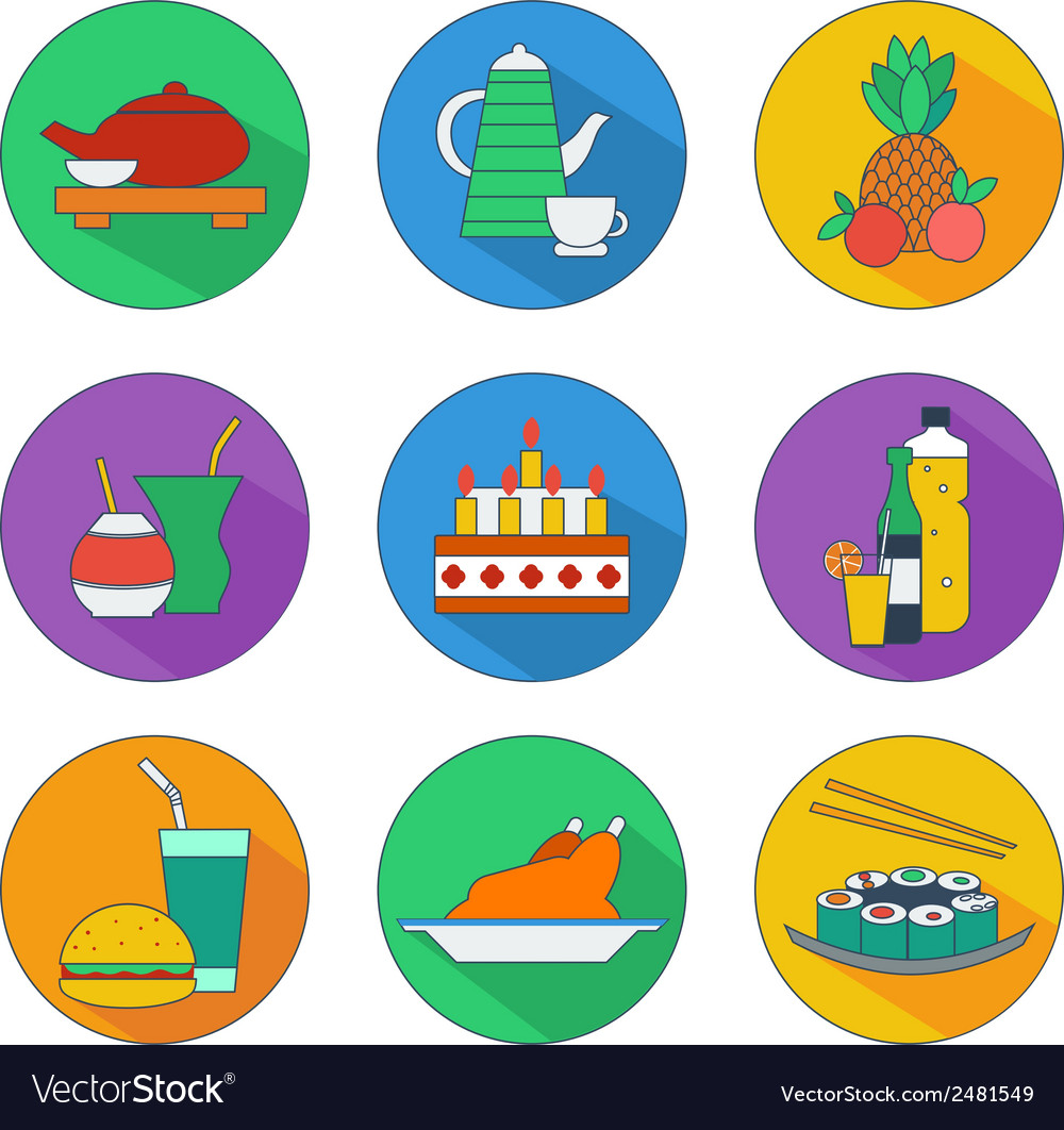 Flat icons of food and drinks vector | Price: 1 Credit (USD $1)
